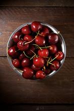 Overhead View Of Wet Cherries ...