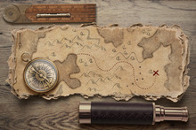 Old Torn Treasure Map With Com...