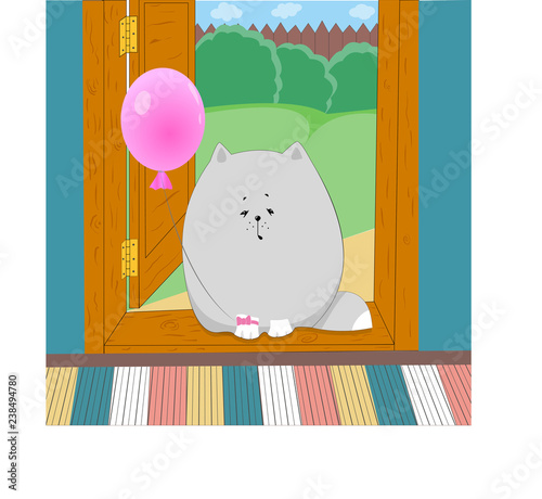 fat cat sits in the doorstep with balloon