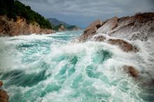 Beautiful Amazing Stunning Seascape, Waves Crashing On Rocks During A Storm, Petrovac Montenegro