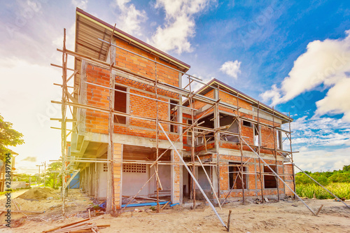 Valokuva  two storey houses are under construction in Thailand, modern house design