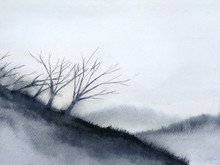 Watercolor Landscape Mountain ...