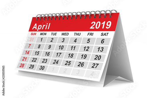 2019 year. Calendar for April. Isolated 3D illustration Canvas Print
