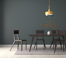 Spacious Dining Room With Wooden Table And Chairs. 3D Illustration.