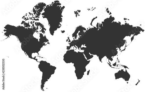 Black blank vector silhouette world map | High detail flat ...