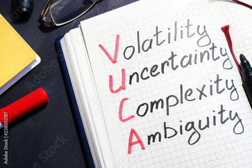 Photo VUCA volatility, uncertainty, complexity, ambiguity written in a note