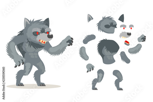 Fotografia Wolf werewolf monster fantasy medieval action RPG game character layered animati