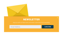 Email Subscribe, Online Newsletter, Submit Button. Envelope And Subscribe Button. UI UX Design. Vector Illustration.