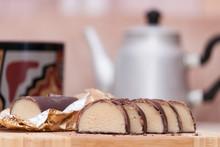 Cut Chocolate Covered Marzipan...