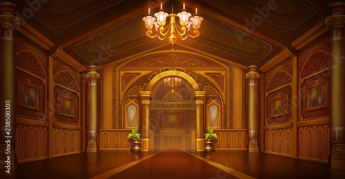 Golden Palace. Golden City. Castle Interior. Fiction Backdrop. Children Backdrop. Concept Art. Realistic Illustration. Video Game Digital CG Artwork. Nature Scenery.