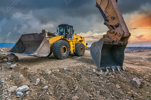 Fotomural  Earth moving by a bulldozer in the construction of a road in Spain