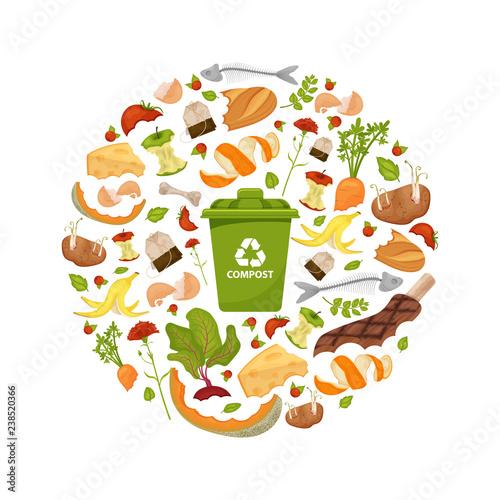 Cuadros en Lienzo Round template Organic waste theme