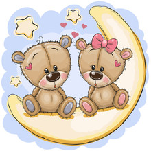 Two Cute Bears Is Sitting On The Moon