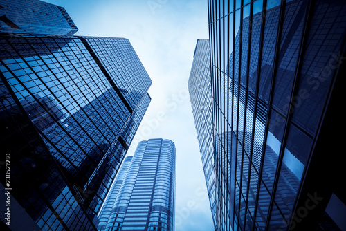 Commercial buildings in Hongkong are low angle, China, Canvas Print