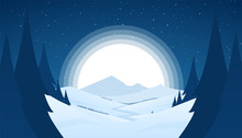 Vector Night Snowy Winter Mountains Landscape With Hills, River Or Road And Fool Moon.
