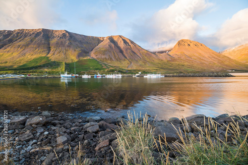 Fotobehang Noord Europa Small beautiful town Flateyri, west fjords, Iceland
