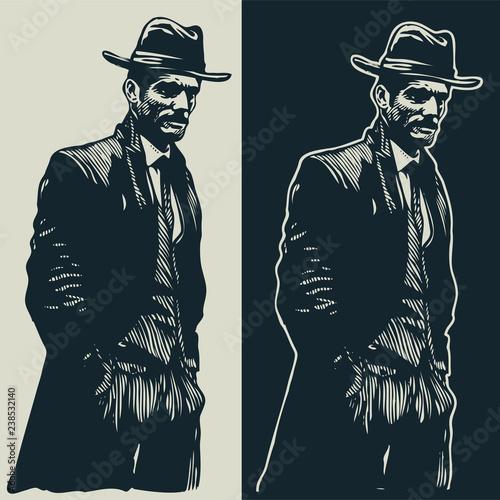 Fotografie, Obraz  man in hat, graffiti style, vector illustration