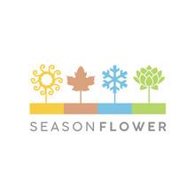 Four Flower Seasons Icon Illustration Logo Design