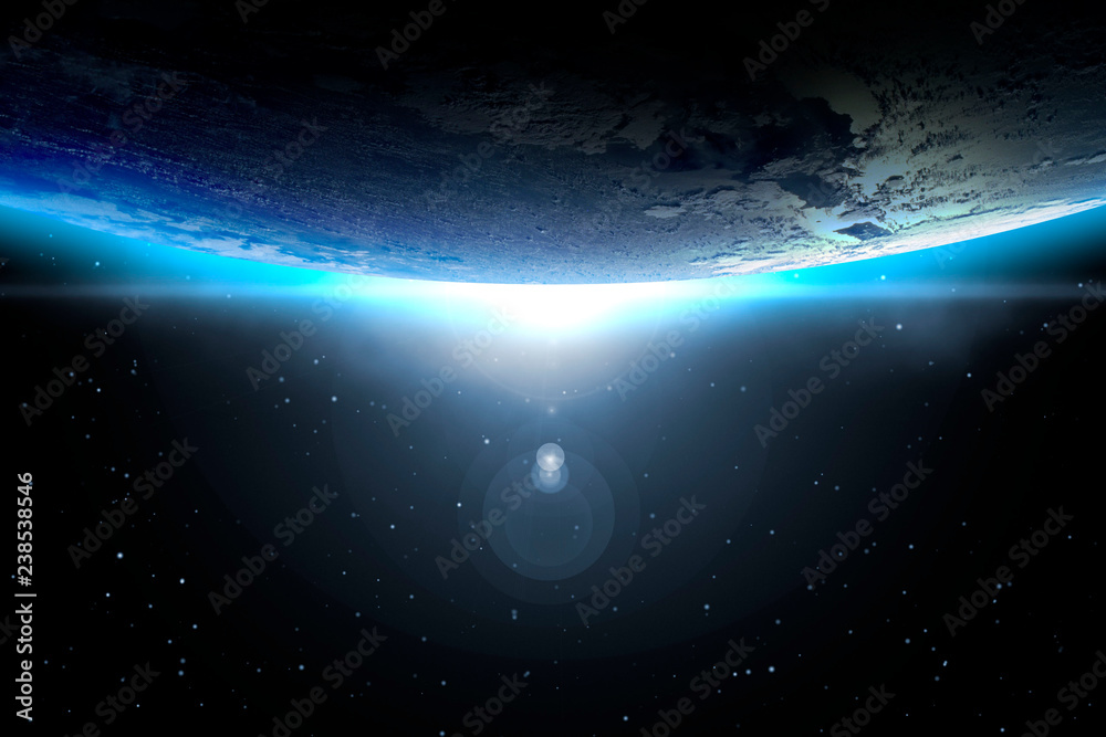 Fototapety, obrazy: creative cosmic art. planet earth with sunrise and sun flare. abstract wallpaper. Elements of this image furnished by NASA f