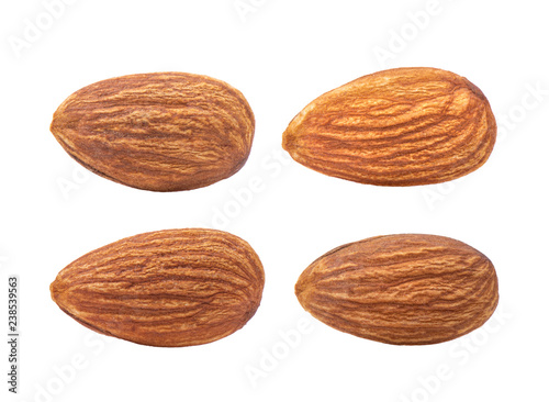 Almond nut isolated on white background. Full depth of field.