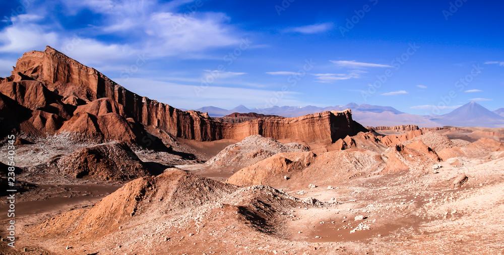 Fototapety, obrazy: Iconic rock formation in valle de la luna near San Pedro de Atacama feat. vulcano Licancabur in the background