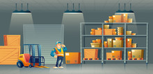 Delivery, Cargo Logistics Or Postal Service Warehouse Interior Cartoon Vector With Hydraulic Forklift, Racks Filled Boxes On Palettes And Happy Smiling Worker In Uniform Showing Biceps Illustration