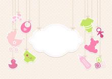 Card Baby Girl Symbols Hanging Cloud Beige