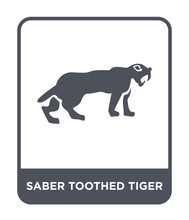 Saber Toothed Tiger Icon Vector