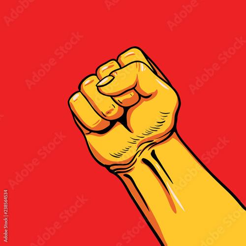 Valokuva  Human hand Up Proletarian Revolution