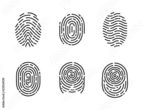 Fototapeten Künstlich Identification Fingerprints Sketches Set Vector