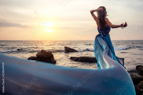 Fotografie, Obraz  gorgeous style brunette young woman in blue chameleon dress long train standing on a rock near the sea, sand tropical on a rock