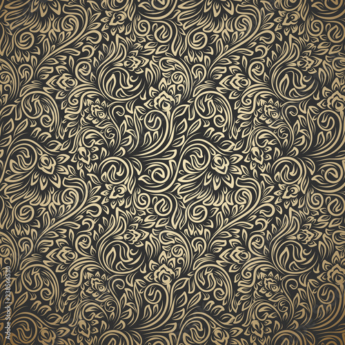 Leinwand Poster Vintage seamless pattern with curls