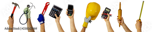 Photo workforce - various profession workers with work tools in hands
