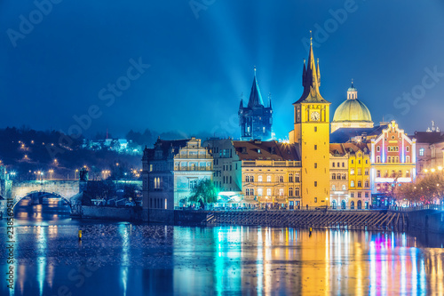Canvas Prints Prague Scenic view over Old town in Prague, Czech republic, at nighttime. Beautiful travel background.
