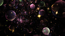 Shiny Purple, Green Bubbles. Abstract Holiday Background. Fantastic 3D Rendered Digital Fractal Illustration.