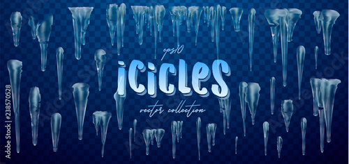 Fotografie, Obraz Vector collection of icicles, isolated on background, transparent, ice