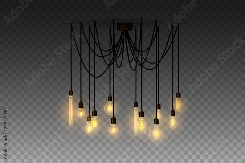 Photo  Realistic loft style hanging lamp. Incandescent lamp. Vector