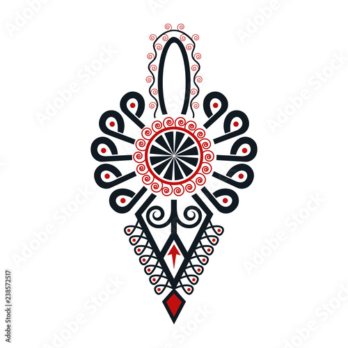 Obraz Polski folklor - parzenica czarno-czerwona - fototapety do salonu