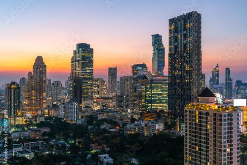 Poster Lieux connus d Amérique Bangkok City - Aerial view beautiful sunset Bangkok city tower downtown skyline of Thailand , cityscape at night , landscape Bangkok Thailand