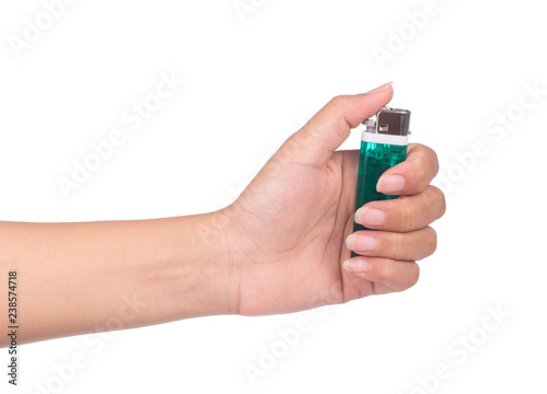 Cuadros en Lienzo hand holding cigarette lighter isolated on white background