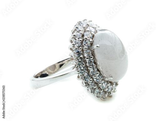 Fotografia, Obraz  Moonstone ring on white background