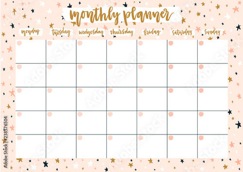 photo relating to Monthly Planner Template named Adorable regular monthly planner for 2019 yr upon pastel heritage with