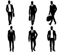 Men Silhouettes On White Background