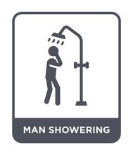 Man Showering Icon Vector
