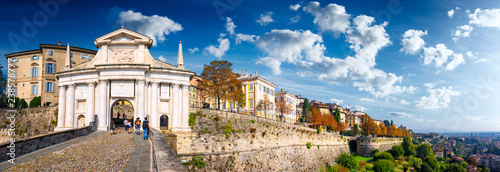 Fototapeta Panoramic view of Porta San Giacomo on Bergamo Old City on a sunny day