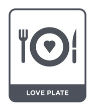 Love Plate Icon Vector