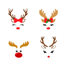 Set Of A Cute Reindeer Face Wi...