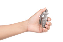 Hand Holding Grenade Isolated ...