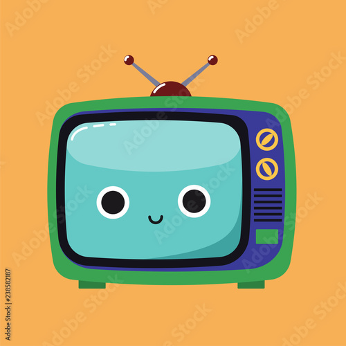 Smiling Cute illustration of an old TV set with a happy expression, Habituate kid card or poster Canvas Print