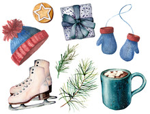 Watercolor Winter Active Sport Set. Hand Painted White Skates, Cacao Cup With Marshmallow, Knitted Hat And Mittens, Giftbox, Fir Branch And  Cookie Isolated On White Background. Holiday Illustrations.